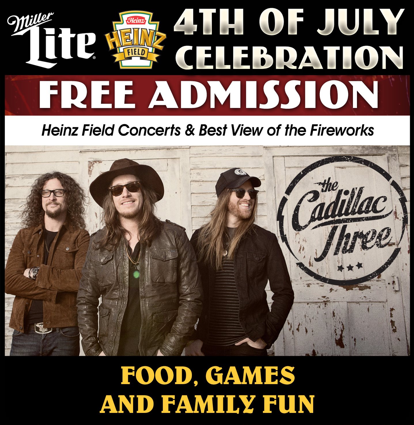 2017 4thOfJulyCelebration The Cadillac Three to Play Heinz Field 4th of July Celebration