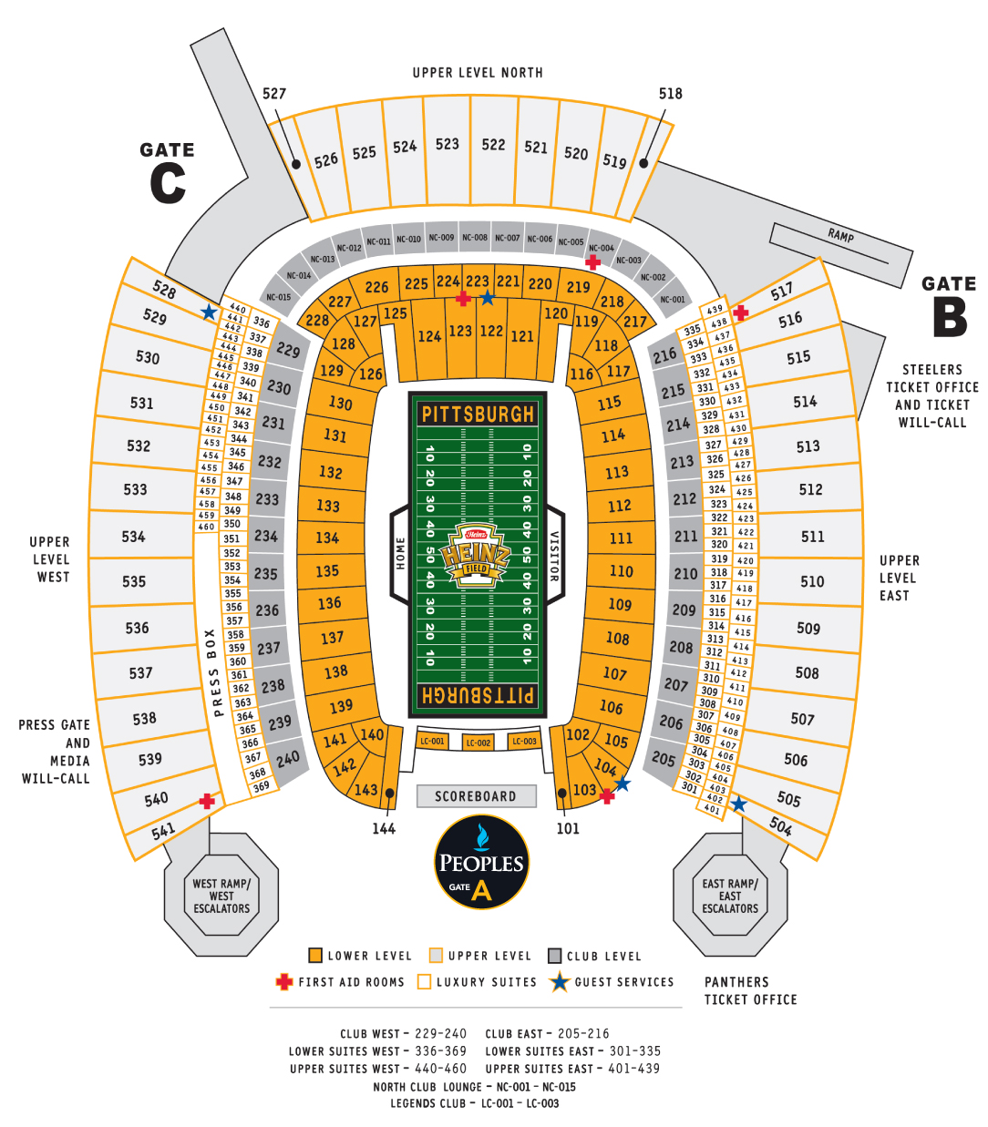 Heinz Field Seat Map Game Day Seating Chart ⋆ Heinz Field in Pittsburgh, PA Heinz Field Seat Map