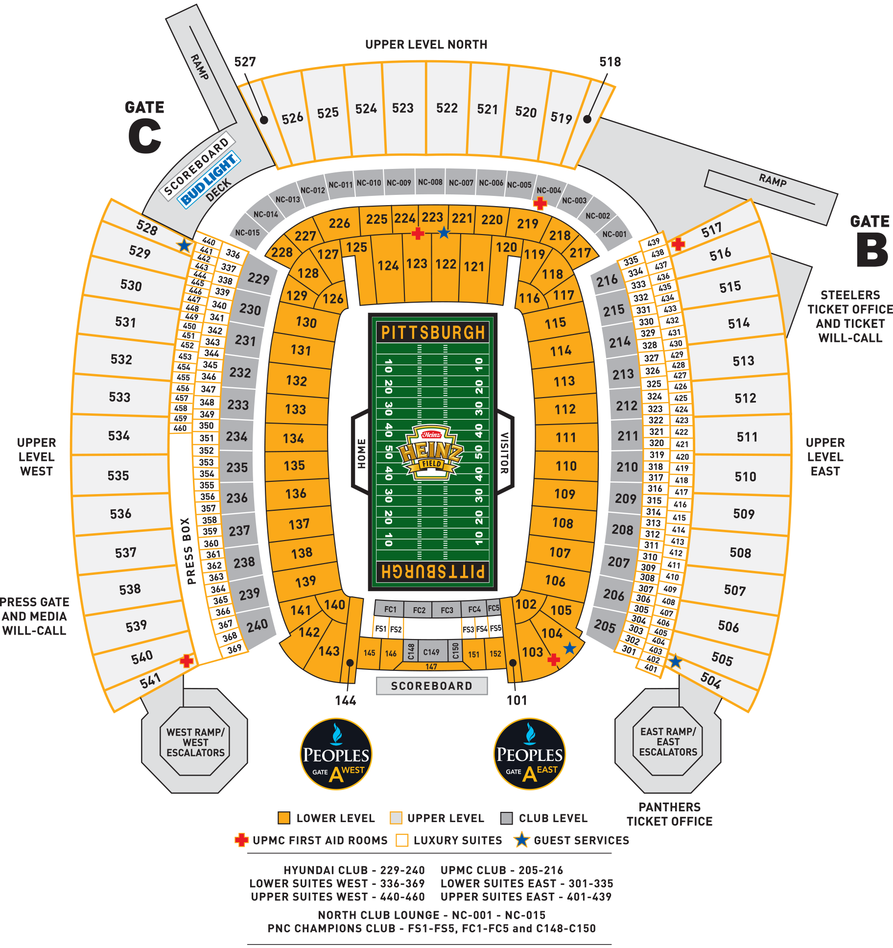 Heinz Field Seat Map Heinz Field Seating Charts and Stadium Diagrams Heinz Field Seat Map
