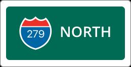 I-279 North road sign
