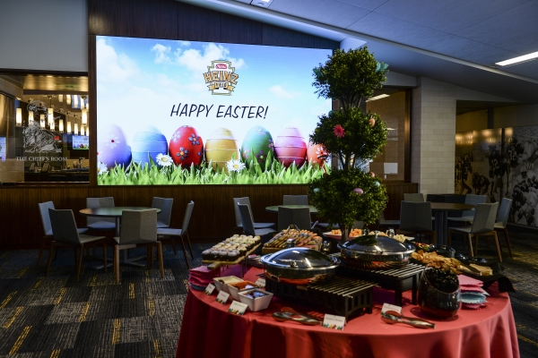 Happy Easter screen and food table